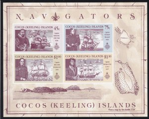 Cocos Islands # 221a, Explorers & their Ships, NH, 1/2 Cat.