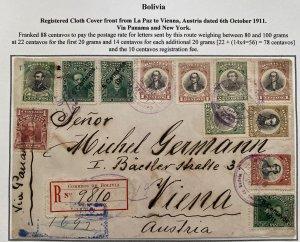 1911 La Paz Bolivia Registered Front Only Cover To Vienna Austria Via Panama