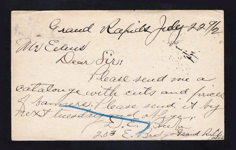 SCOTT #UX10 GRANT POSTAL CARD GRAND RAPIDS MI DUPLEX CANCEL 1892