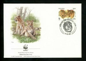 india -Postal History FDC #1765-1768 SET OF 4  WWF Animals lion 1999