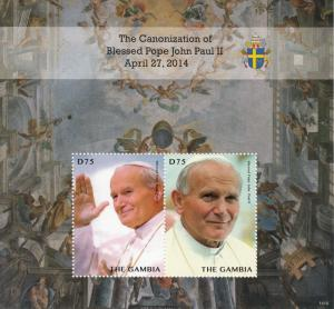 Gambia 2014 MNH Canonization Blessed Pope John Paul II 2v S/S II Popes Stamps