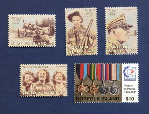 NORFOLK ISLAND - 587-591  - VF MNH -  WWII Victory in the Pacific - 1995