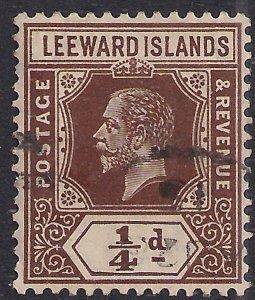 Leeward Islands 1912 - 22 KGV 1/4d Brown used SG 46 ( H790 )