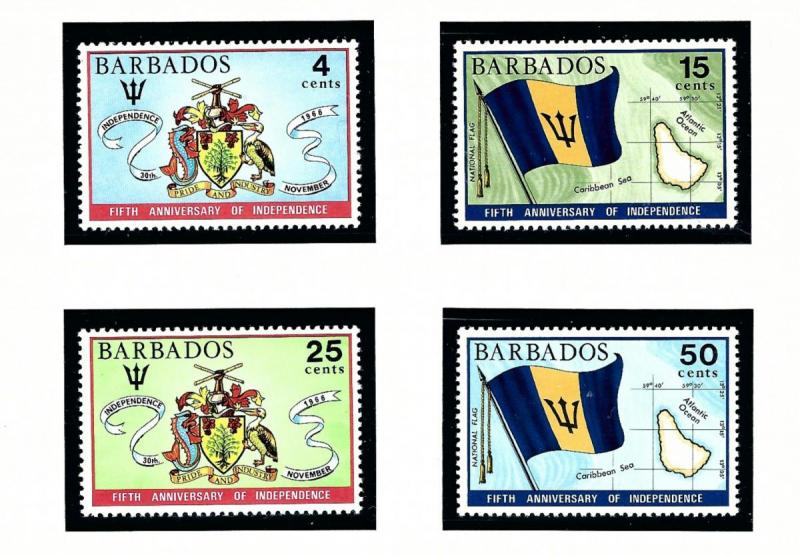 Barbados 364-67 MNH 1971 Anniv of Independence