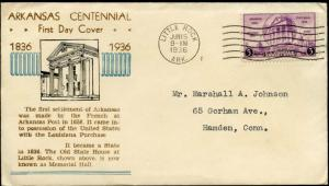 #782-37 LITTLE ROCK, ARKANSAS FIRST DAY COVER CACHET BY UCM BN444