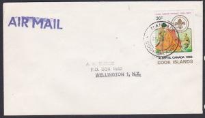 COOK IS 1983 cover to NZ - MANGAIA cds - 36c Boy Scouts....................87694