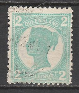 QUEENSLAND 1907 QV 2/- WMK CROWN/A TOP VALUE USED