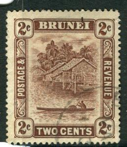 BRUNEI; 1924 early River View issue fine used 2c. value