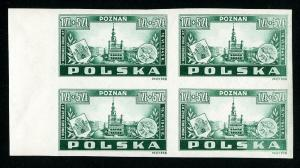 Poland Stamps # B40 XF OG NH Imperforate Block of 4 Scott Value $200.00