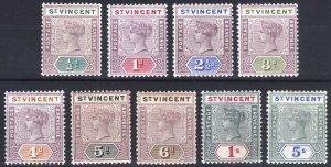 St Vincent 1899 1/2d-5s QV Key Plate SG 67-75 Sc 62-70 LMM/MLH Cat £130($169)