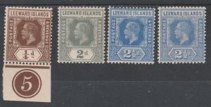 LEEWARD ISLANDS 1912 KGV RANGE TO 21/2D WMK MULTI CROWN CA