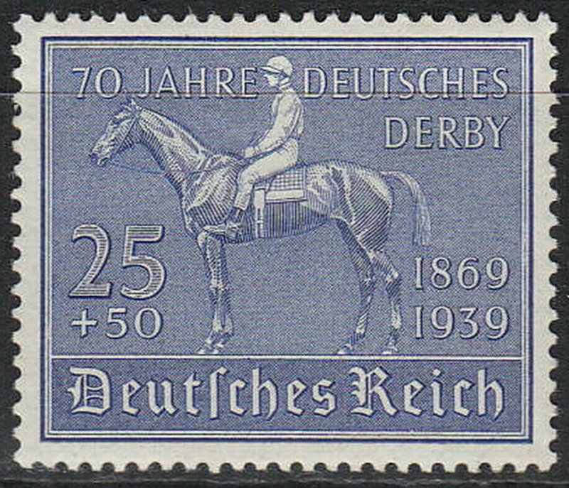 Stamp Germany Mi 698 Sc B144 1939 WWII reich Horseback Rider Derby Hamburg MH