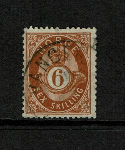Norway SC# 20, Used, shallow center thin, top shallow perf thin - S9201