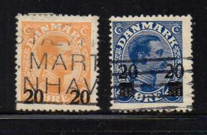 Denmark Sc 176-77 1929 20 ore surcharges stamp set used