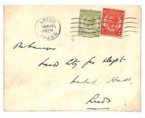 GB Cover KGV STATIONERY CUT-OUTS Usage Yorks Leeds 1925{samwells-covers}BD26
