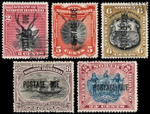 North Borneo Scott J1, J3-5, J8 (1895) Mint/Used H VF, CV $155.25 B