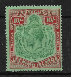 LEEWARD ISLANDS SG79a 1928 10/= GREEN & RED ON GREEN BREAK IN SCROLL VAR LMM