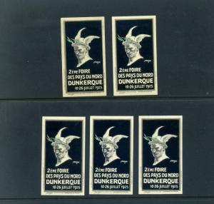 5 VINTAGE 1925 DUNKERQUE FRENCH  EXPO POSTER STAMPS (L771) DUNKIRK