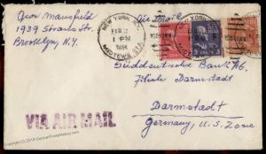 USA 10c 3c 2c  Prexie Tyler Airmail NYC Darmstadt Germany Cover 80136