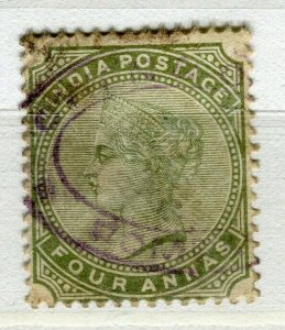INDIA; 1880s classic QV issue fine used + Fiscal cancel 4a. value