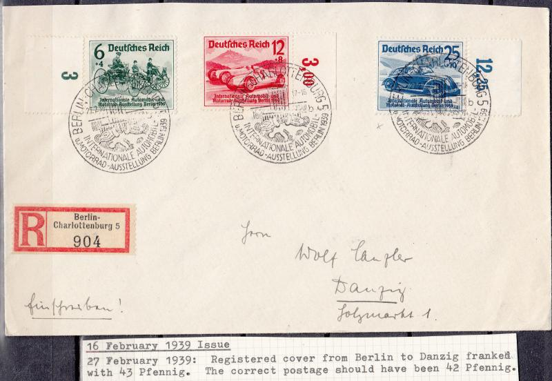 Germany - 27.2.1939 Auto set on registered cover Berlin - Danzig (1717)