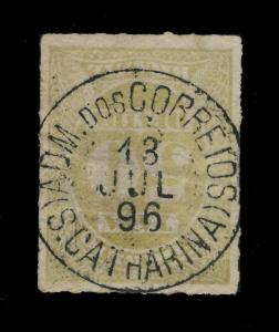 BRAZIL - SUPERB S.CATHARINA CDS ON 1895 50R YELLOW-GREEN POSTAGE DUE MiNr.P20