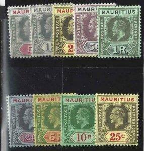 Mauritius 1921-1922 SC 152-160 MLH Set