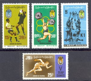 Burma Sc# 212-215 MH 1969 Athletes