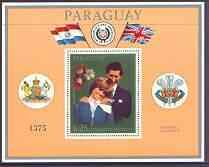 Paraguay 1981 Royal Wedding perf m/sheet (gold coloured b...