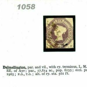 GB 6d EMBOSSED Stamp SG.59 RARITY *Dalmellington* Circular Scots CDS Cancel 1058