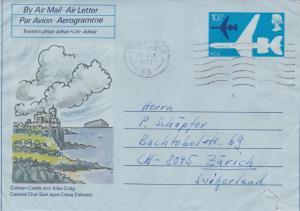 GB 1977 VC10 10.5p Air Letter Culzeal Castle Edinburgh-Zurich VGC