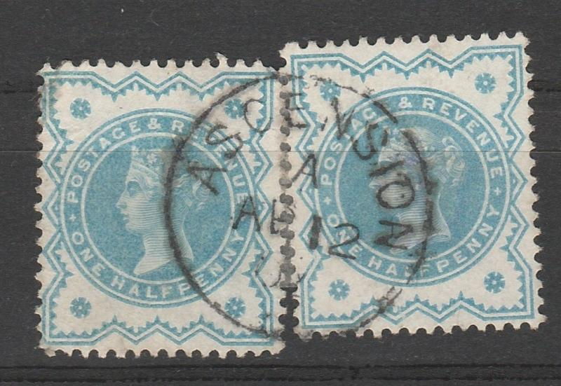 ASCENSION 1900 QV GREAT BRITAIN 1/2D (2) WITH ASCENSION POSTMARK