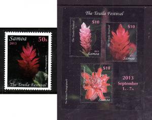 Samoa-Sc#1161-2-Unused NH stamp & sheet-Teuila Festival-Flowers-2013-