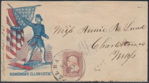 #65 TIED BY ALBANY, NY CDS ON PATRIOTIC COVER TO CHARLESTOWN BS295