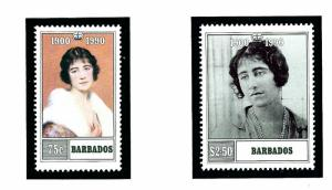 Barbados 782-83 MNH 1990 Queen Mother Birthday