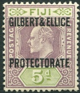 GILBERT & ELLICE ISLANDS-1911 5d Purple & Olive-Green Sg 5 MOUNTED MINT V34655