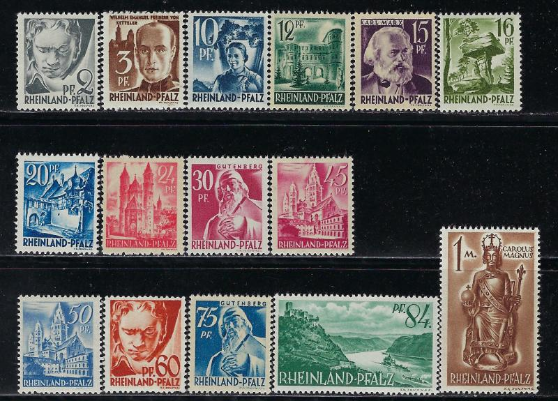 Germany - under French occupation Scott # 6N1 - 6N15, mint nh, cpl. set
