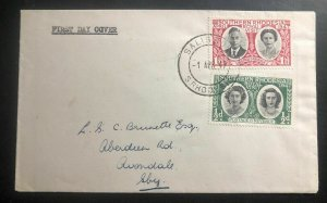 1947 Salisbury Southern Rhodesia First Day Cover FDC Royal Visit Stamp Issue