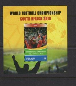 Tuvalu  #1150 (2010 Spain in World Cup Soccer - Winner - sheet) VFMH CV $5.50