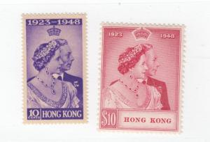 HONG KONG # 178-179 VF-MVLH KGV 1948 SILVER WEDDING ISSUES