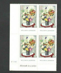 4653 Flowers, By William H. Johnson Bottom Plate Block Mint/nh FREE SHIPPING
