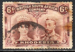 1910 Rhodesia Sg 145 6d brown and mauve (Perf 14) Spacefiller