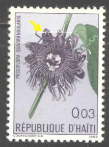 Haiti  Scott 532 MH*  Flower stamp scuffed