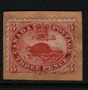 Canada #12 Very Fine Used On Piece With Light 4 Ring 46 **With Certificate**