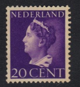 Netherlands  1940  used Wilhelmina    20 ct    #