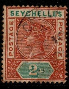 SEYCHELLES SG28 1900 2c ORANGE-BROWN & GREEN USED