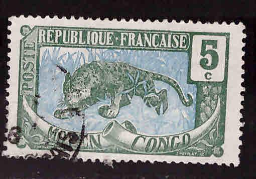 Moyen Middle Congo Scott 4  Used stamp 1907