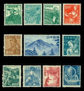 JAPAN 1948  VOCATIONAL / Professions - Wmk set Sk# 312-333 (Sc 425-436) mint MNH