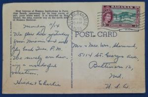 Bahamas Postcard With Stamp Postmarked 1955 (HP3)