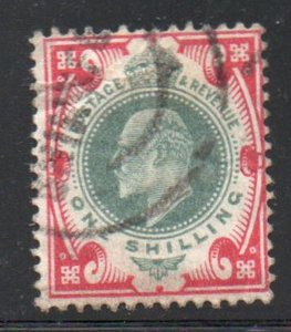 Great Britain Sc 138 1904 1/ carmine & dull green Edward VII stamp used